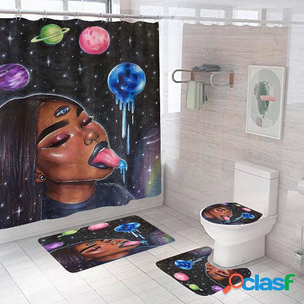 Meninas africanas impressão banheiro conjunto de cortina de chuveiro tapete de tampa de banheiro banheiro tapete antiderrapante tapete kit
