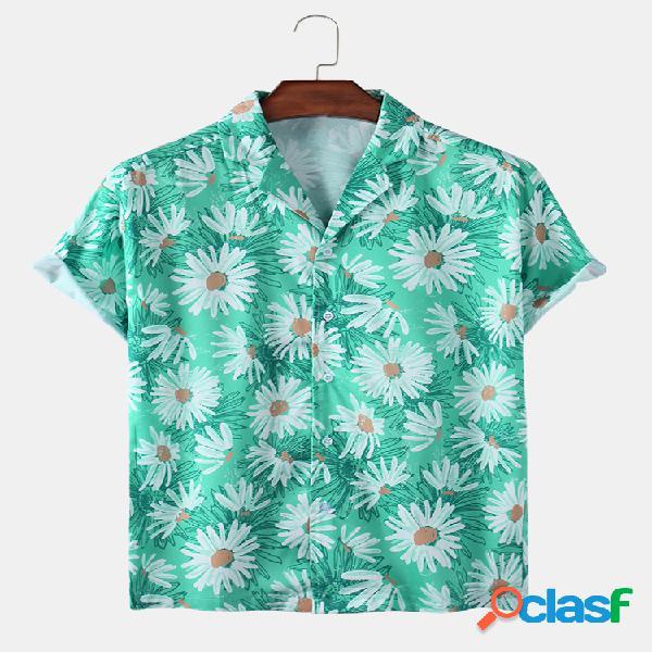 Mens daisy floral print respirável light casual camisas de manga curta