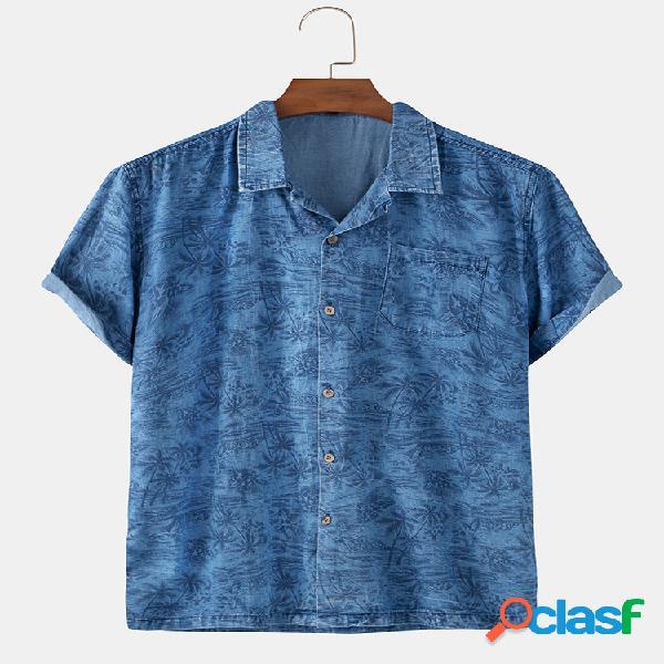 Mens 100% algodão tropical impresso bolso casual camisas de manga curta