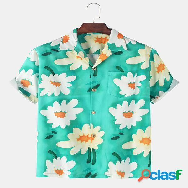 Mens daisy floral print respirável light casual chest pocket shirts