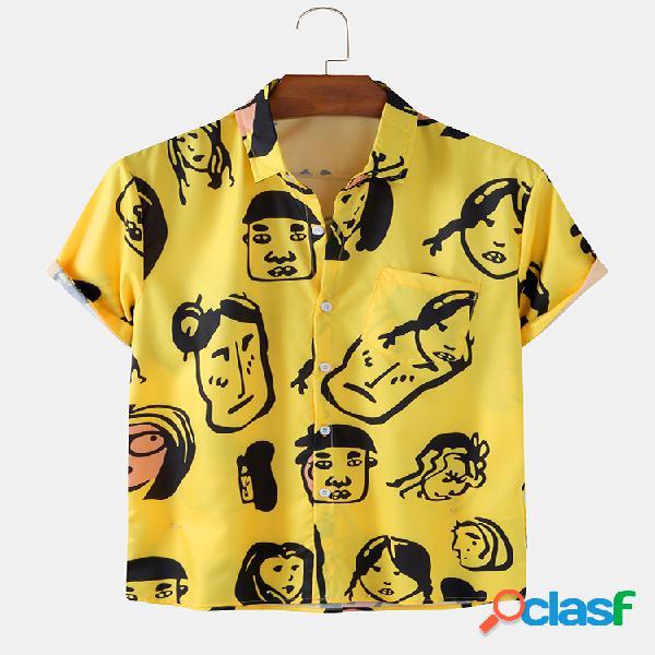 Mens fun cartoon portrait impresso respirável e leve camisa