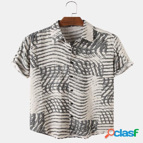 Mens wave impresso algodão respirável casual camisas de manga curta