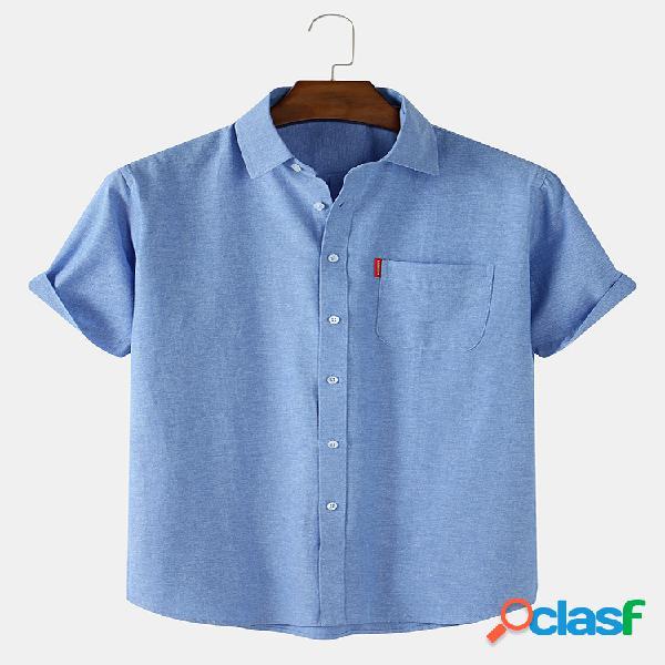 Camisas masculinas 100% algodão respirável cor sólida casual manga curta com bolso