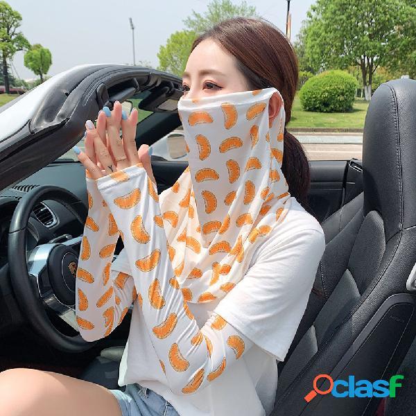 Mangas de seda gelo face máscara luvas de proteção solar montando mangas de meio dedo em gelo