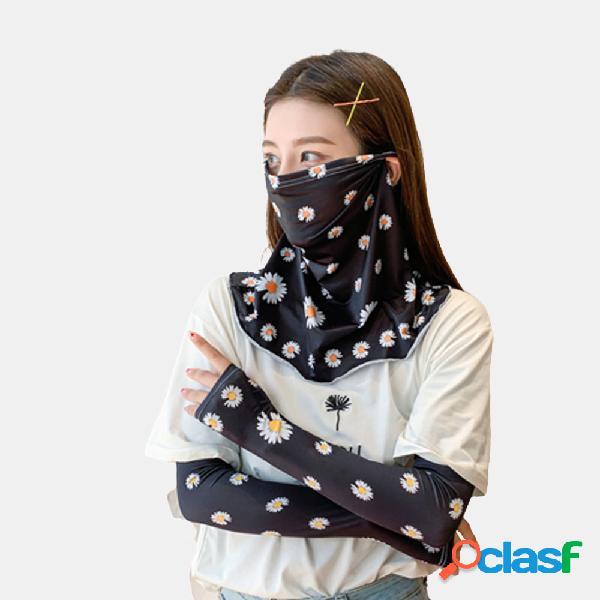 Margaridas pequenas protetor solar manga de braço manga de braço manga de cobertura de rosto ice silk máscara