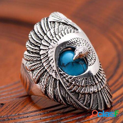 Metal vintage turquesa anel de dedo geométrico esculpido eagle asas anéis de aço de titânio