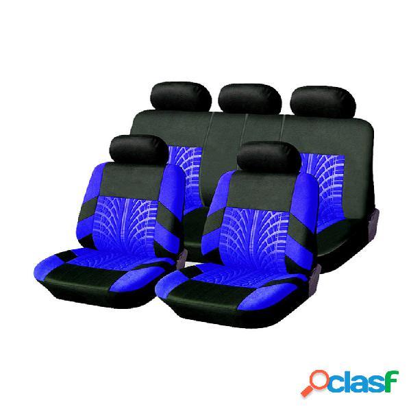Universal 9pcs conjunto completo de capas de assento de automóvel faixa de pneu capa de assento de carro em relevo para caminhão suv van 4 cores material de poliéster durável