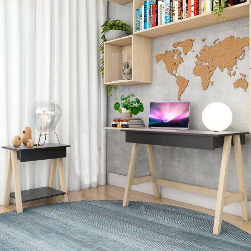 Escrivaninha cavalete e mesa lateral cavalete natural preto