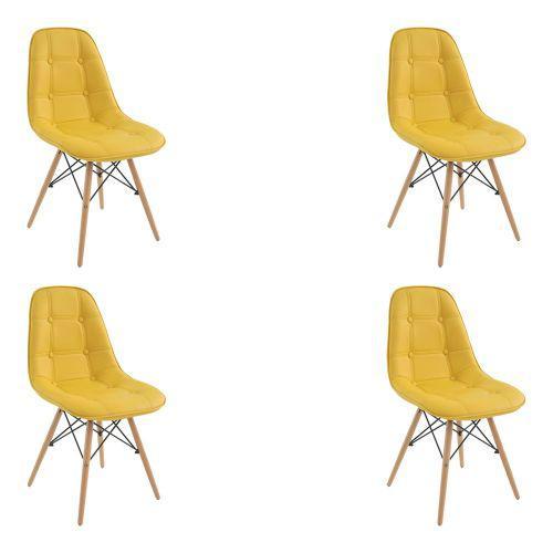 Kit 04 cadeiras decorativas sala e escrit/u00f3rio cadenna