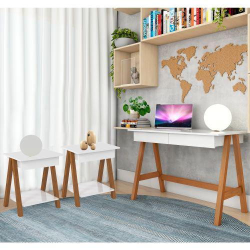 Mesa computador cavalete e jogo mesinha am/u00eandoa branco