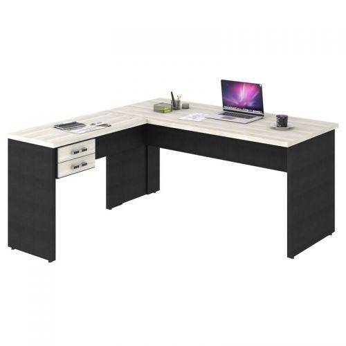 Mesa de escrit/u00f3rio em l 160x160 2 gavetas work c08