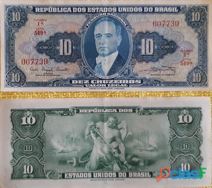 10 CÉDULAS GETÚLIO VARGAS 10 CRUZEIROS FE(FLOR DE ESTAMPA) 3