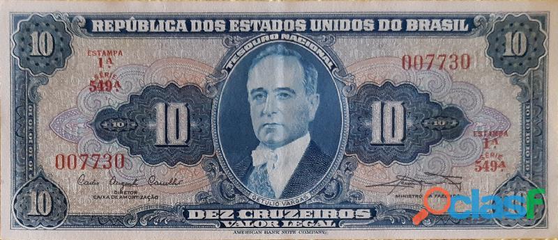 10 CÉDULAS GETÚLIO VARGAS 10 CRUZEIROS FE(FLOR DE ESTAMPA) 4