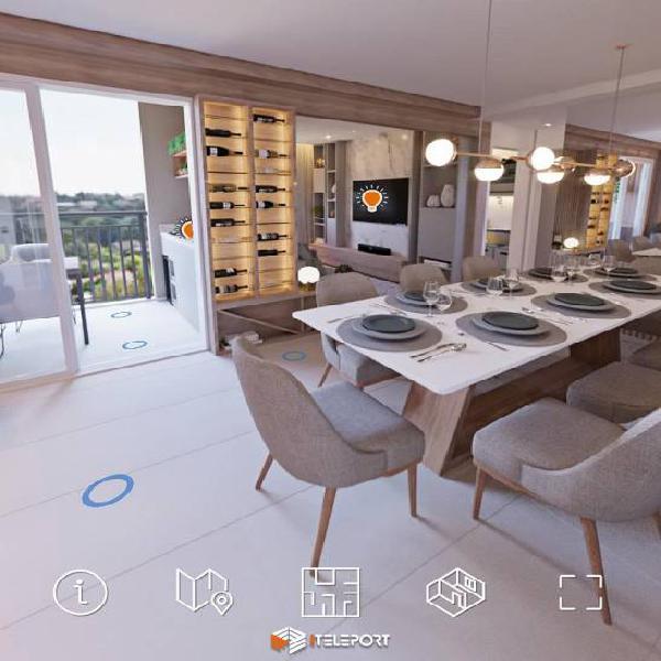 Apartamento 57 metros, 2 dormitórios, sendo 1 suite, 1 vaga