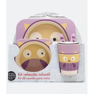 Primeira compra] kit refeição infantil estampa coruja