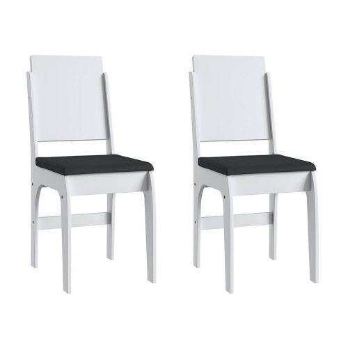 Cadeiras mdf brancas com o assento preto lilies m/u00f3veis