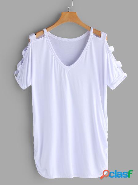 Branco cut out design camisetas de mangas curtas com decote em v, ombro frio e liso