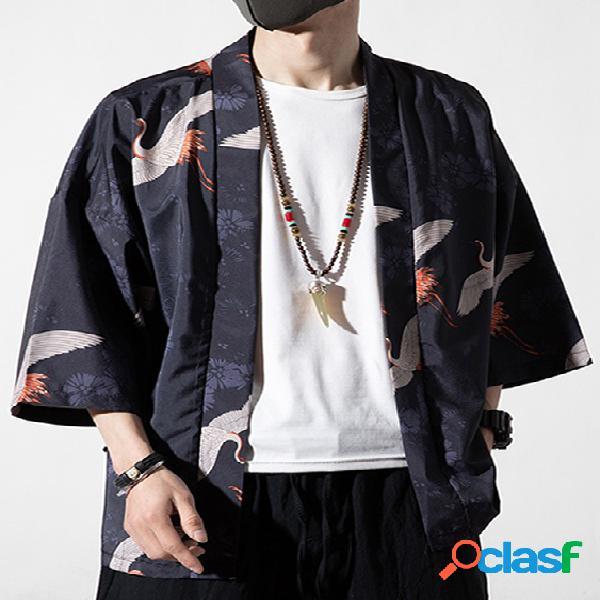 Casaco protetor solar masculino retrô casual estilo chinês crane animal cardigã com estampa floral