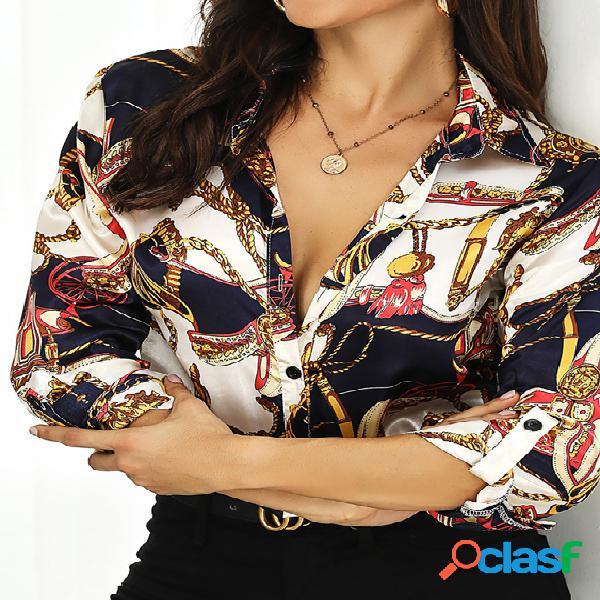 Yoins cachecol estampado classic blusa de manga comprida com colarinho