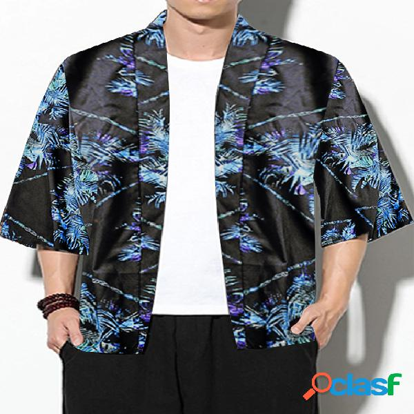 Casaco masculino casual japonês road robe quimono protetor solar all over print cardigan