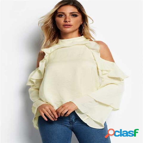 Blusa de manga comprida de ombro frio branco design