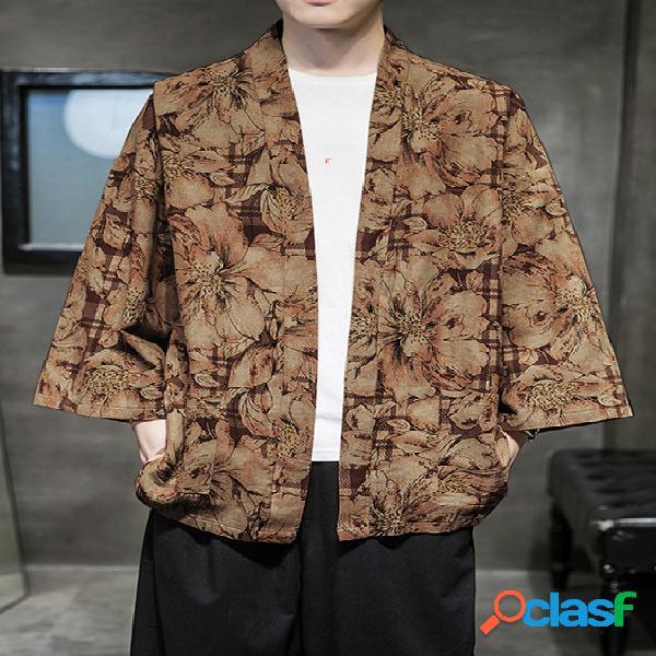 Casaco protetor solar masculino casual estilo chinês hanfu cardigã estampado floral todo