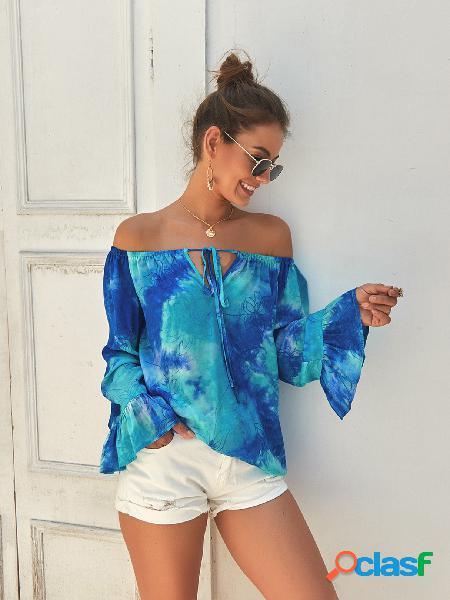 Blusa de manga comprida azul tie-dye off the shoulder