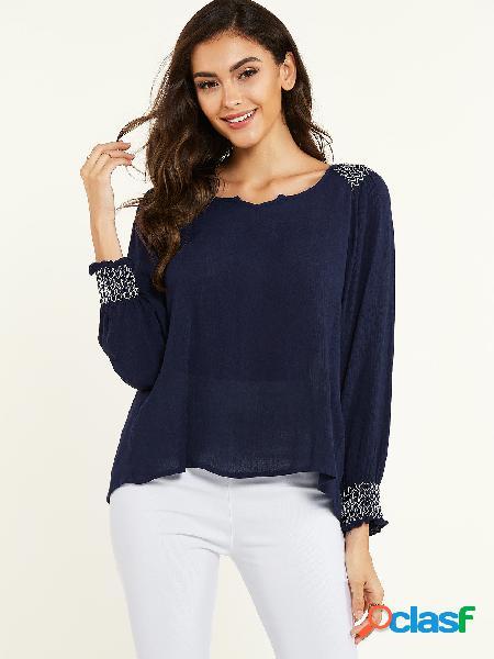 Yoins blusa azul marinho shirring decote redondo de mangas compridas