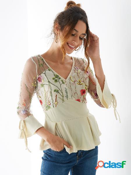 Yoins blusa de malha de damasco bordada com decote em v com babados em bainha