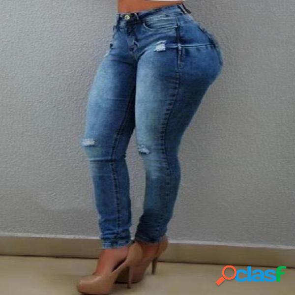 Blue pocket design botão frontal rasgado jeans