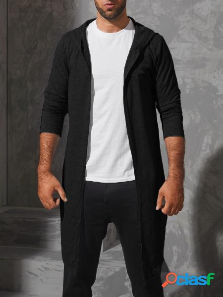 Incerun casaco masculino casual com capuz liso de manga comprida midi cardigan