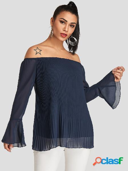 Blusa de manga comprida azul marinho plissada design