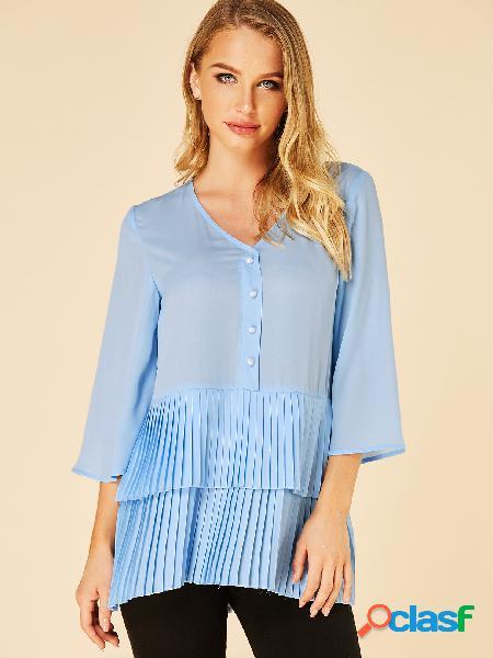 Yoins blusa azul dupla camada plissada gola v 3/4 comprimento blusa mangas
