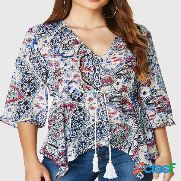 Yoins paisley estampa cordão design blusa meia mangas com decote v