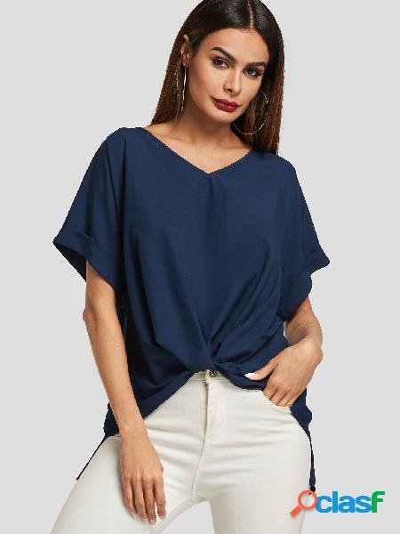 Blusa de mangas curtas azul marinho twist com decote em v
