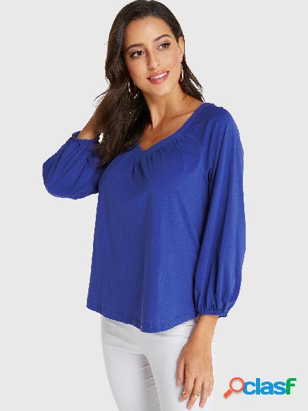 Yoins blusa azul com decote em v mangas elásticas