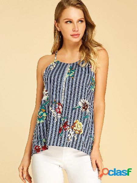 Yoins blusa sem mangas com estampa floral listrada azul