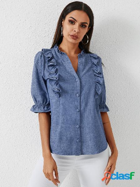 Yoins botão azul design blusa de mangas curtas com decote em v