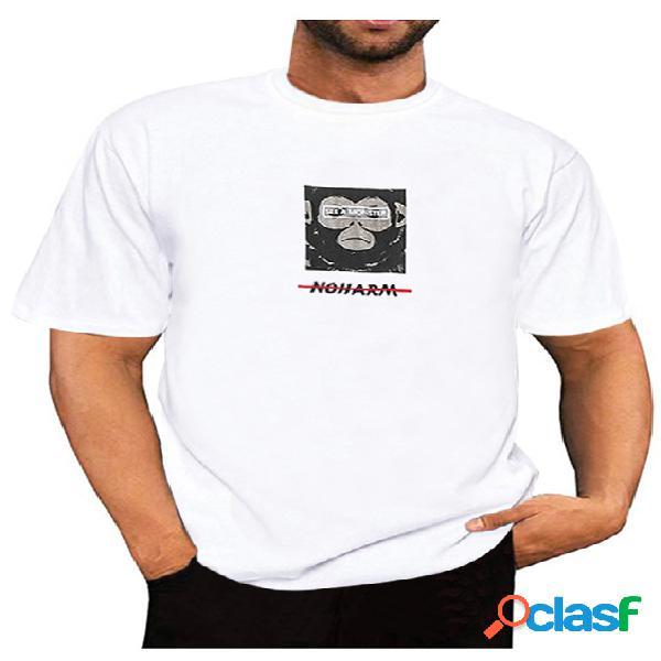 Camiseta de manga curta estampada masculina de verão