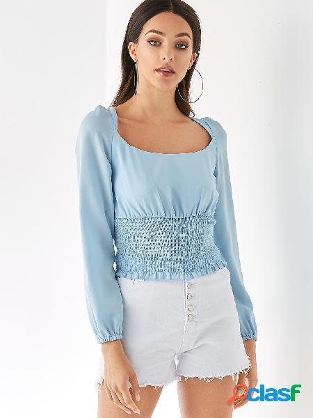 Yoins blusa de mangas compridas de chiffon azul claro sem encosto quadrada gola