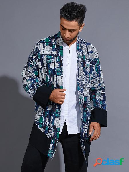 Casaco protetor solar masculino casual com estampa completa cardigan color block