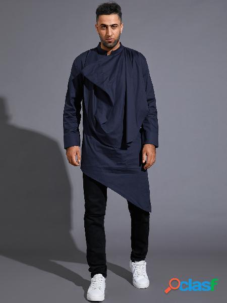 Homens casual outono moda irregular hem plain midi comprimento camisa