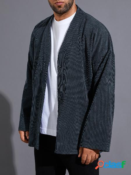 Casaco casual masculino outono inverno cor sólida cardigan confortável