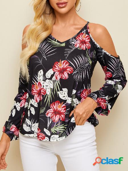 Yoins blusa de manga comprida preta aleatória com estampa floral de ombro frio