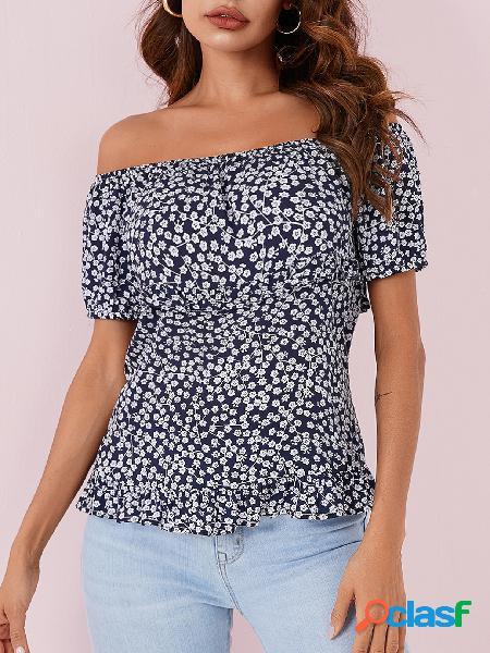 Yoins blusa de manga curta azul marinho chita fora do ombro