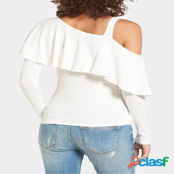 Branco em camadas design one camiseta de ombro