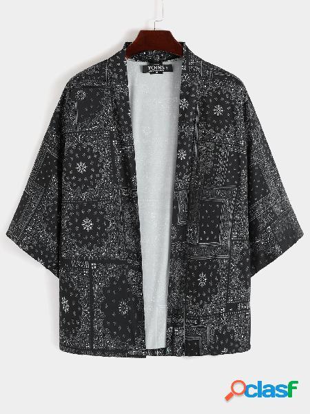 Casaco masculino de verão casual quimono robe solto retrô tribal de proteção solar