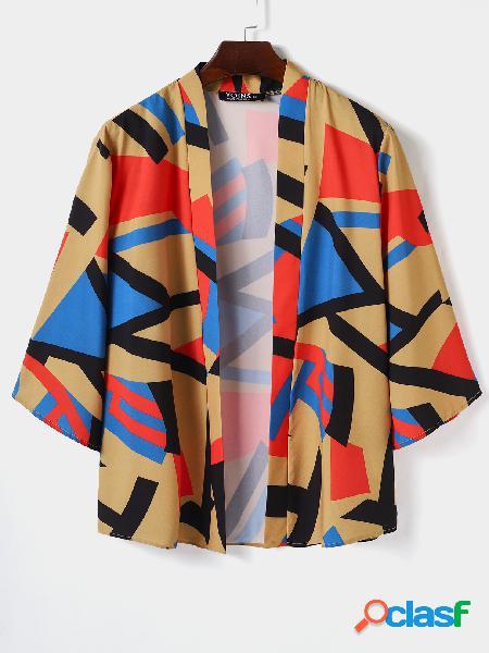 Casaco protetor solar masculino casual colorido bloco geométrico multicolorido quimono cardigã