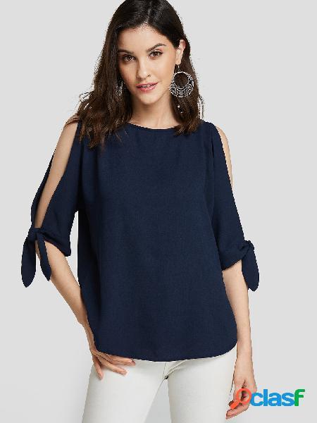 Blusa de mangas com decote redondo azul marinho design