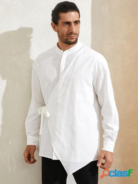 Homem casual colarinho simples irregular moda design camisa